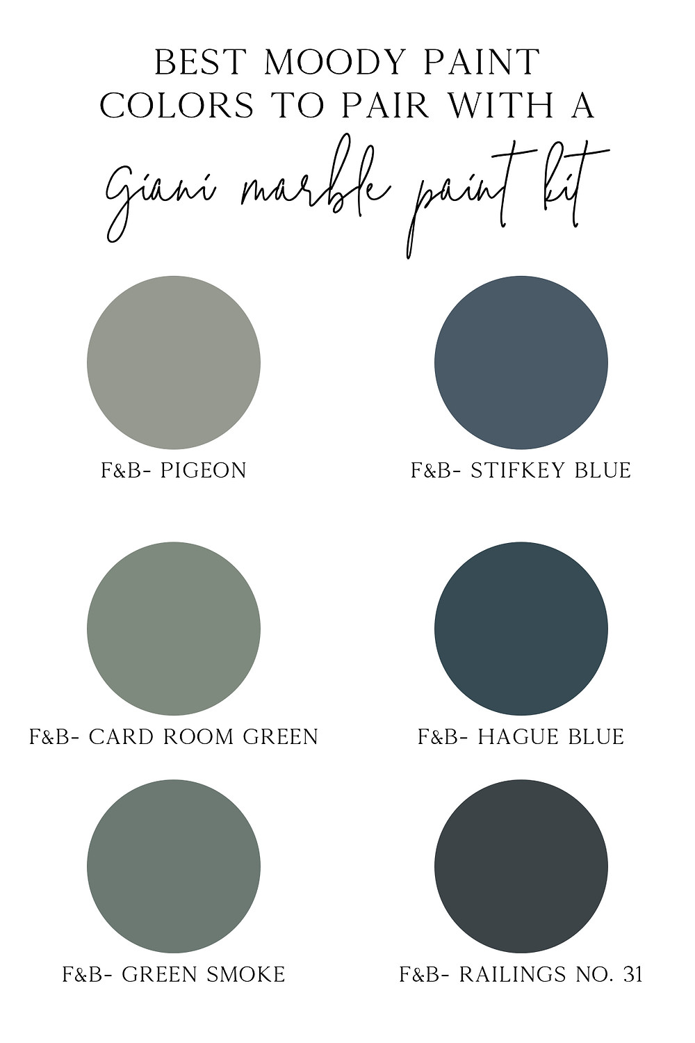 best moody paint colors to pair with a giani marble paint kit