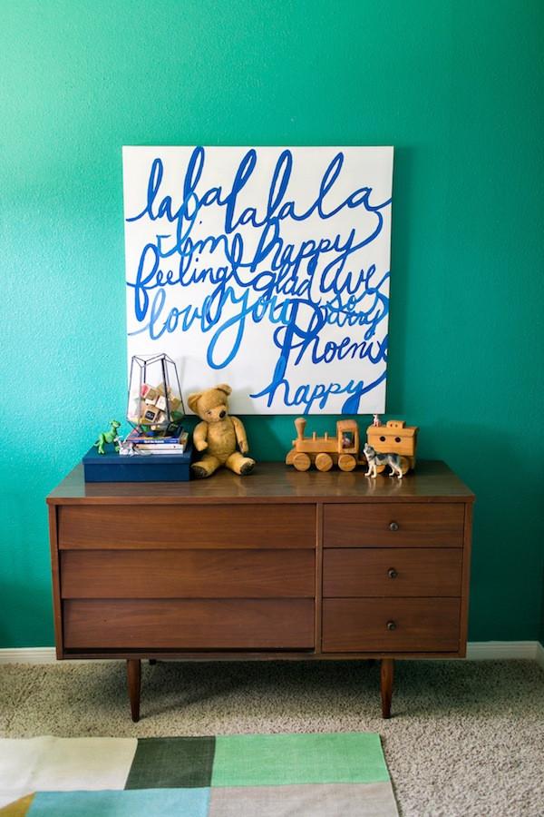 modern green bedroom design- big boy room, diy art