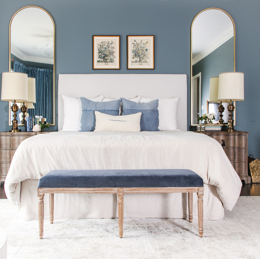 modern traditional grandmillenial bedroom inspiration, dusty blue room interior design, neutral bedroom