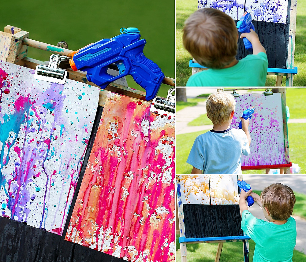 at home summer camp- squirt gun watercolor painting
