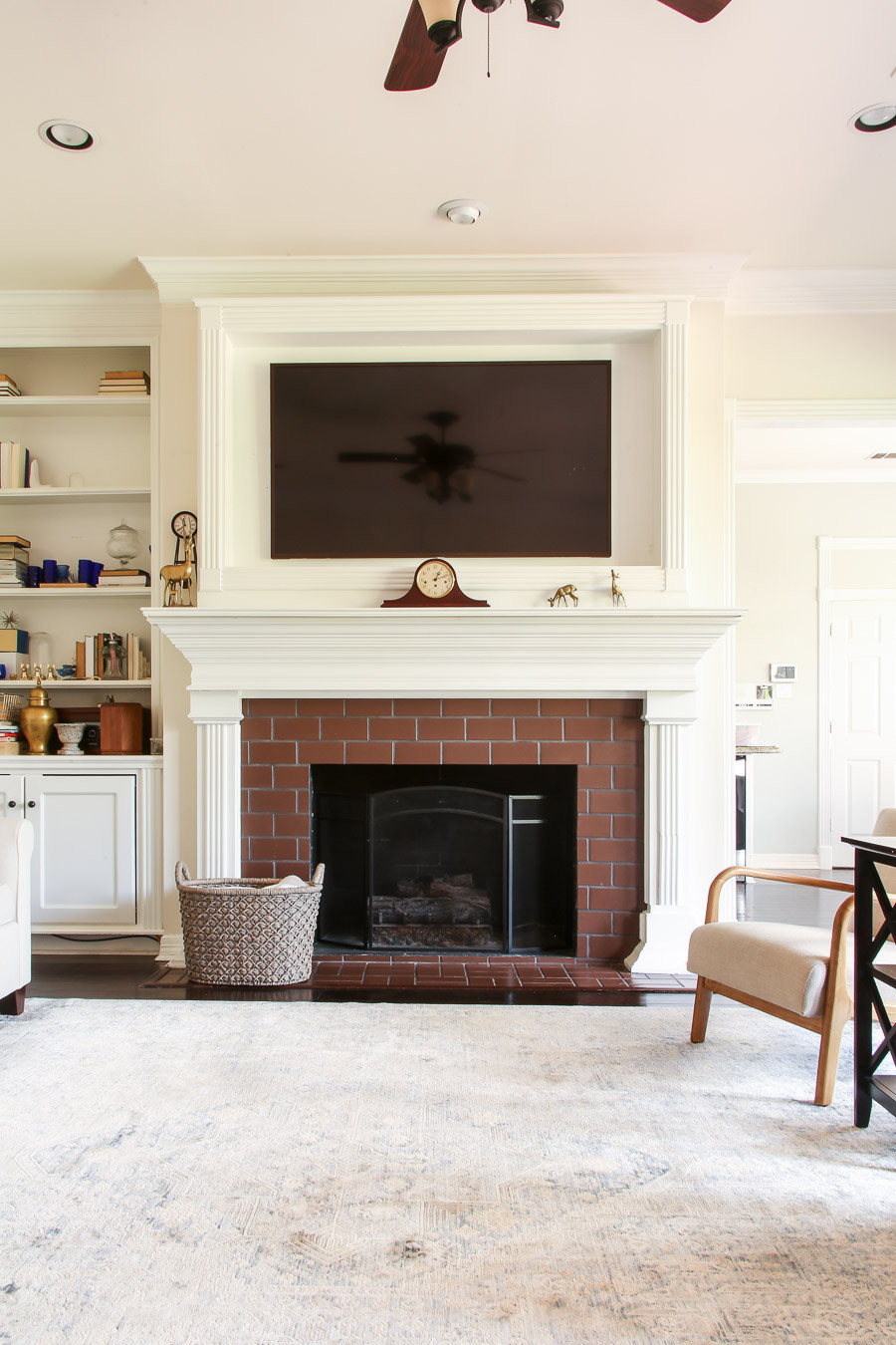 fireplace wall with brick