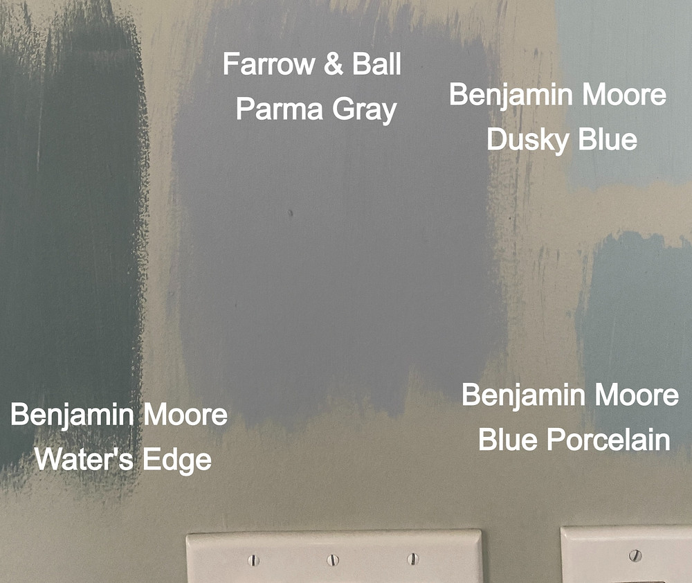 dusty blue paint swatches, farrow and ball parma gray, benjamin moore dusky blue, blue porcelain, water's edge