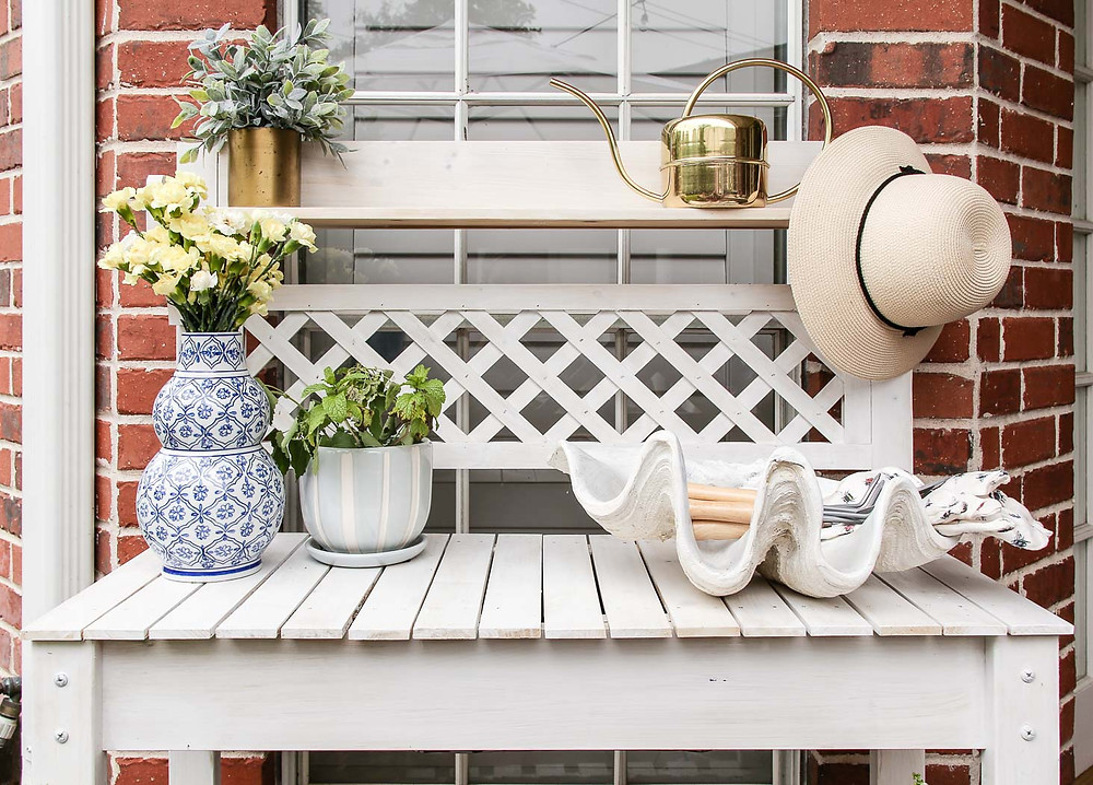 white lattice potting station inspiration