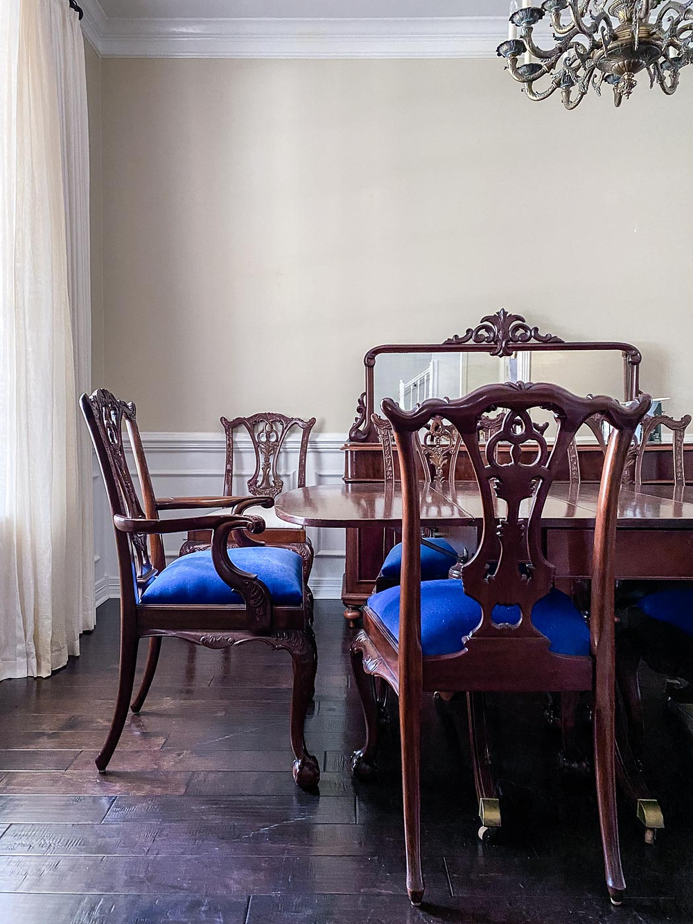 cobalt blue chippendale dining chairs