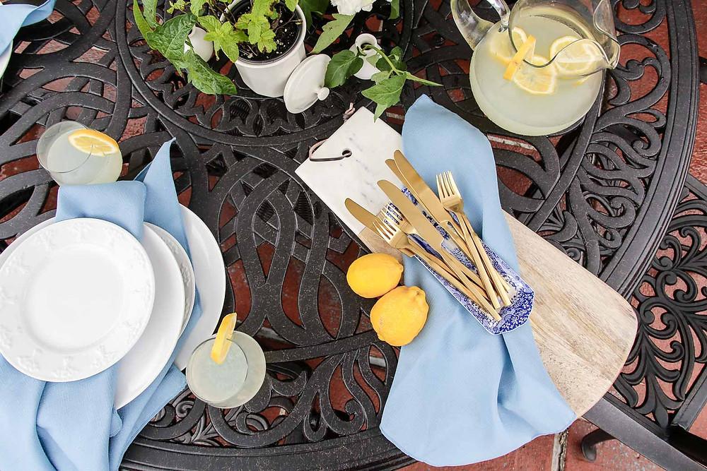 patio dining lemonade party inspiration