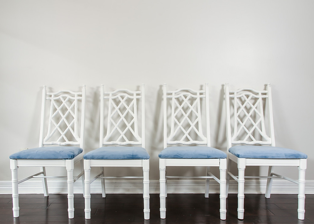 dusty blue chippendale chinoiserie bamboo chairs