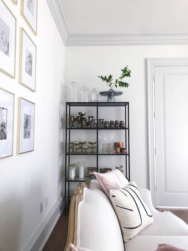 grandmillenial girly office space design styled shelf
