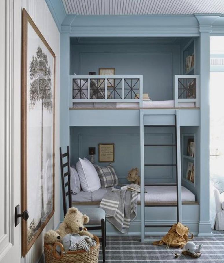 blue built in bunk bed inspiration