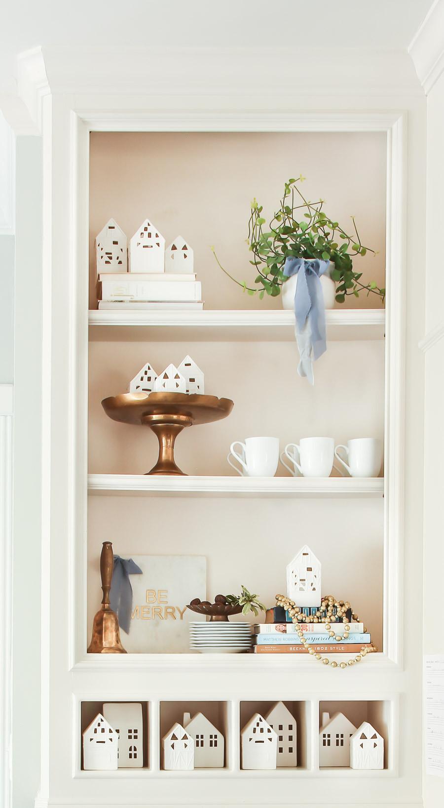 christmas styled shelf
