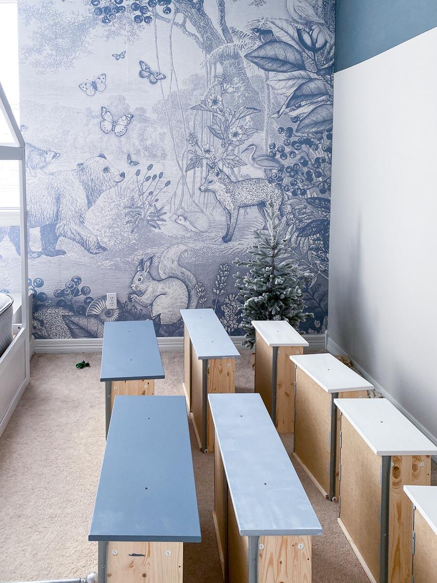 woodland blue, pimpelmees forest animals blue wallpaper toddler bedroom