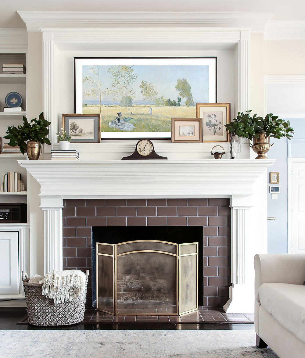 grandmillenial styled fireplace with frame tv