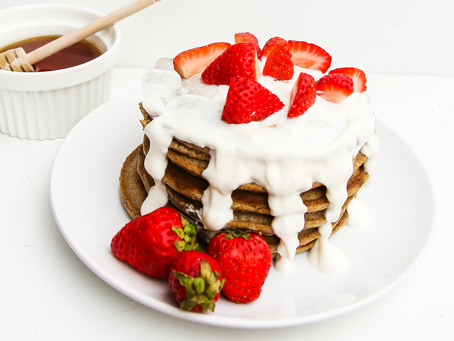 Clean Strawberries and Cream Pancakes (gluten and sugar free)