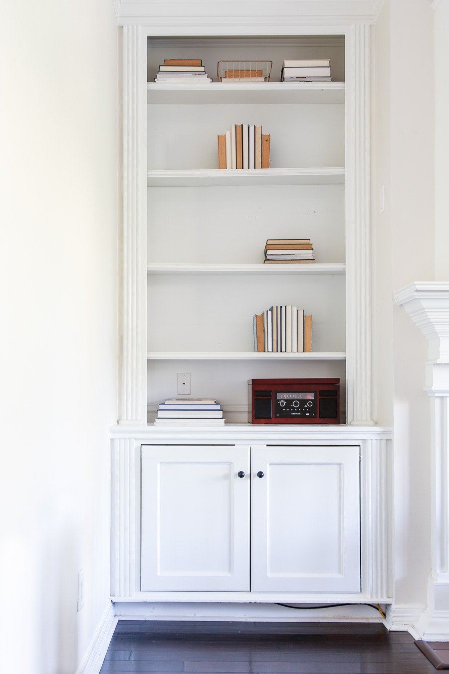 how to style a shelf- step 1 books