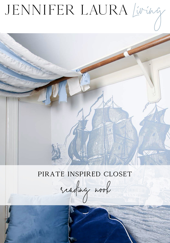 Pirate themed closet reading nook, rebel walls high seas wallpaper