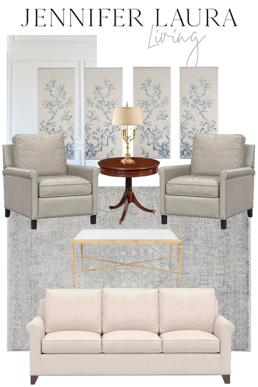 grandmillenial living room mood board, neutral and blue