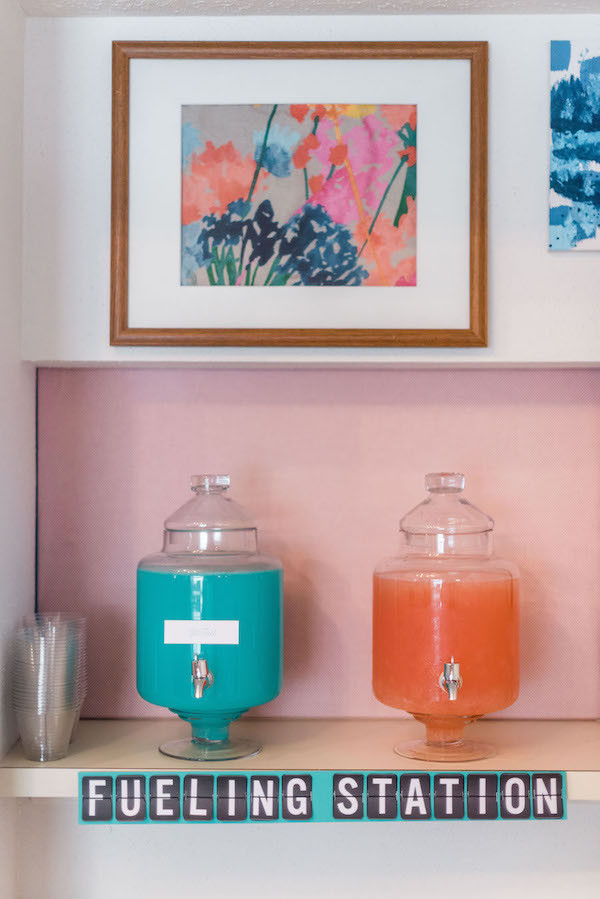 paper airplane kid party ideas- fueling station drink station