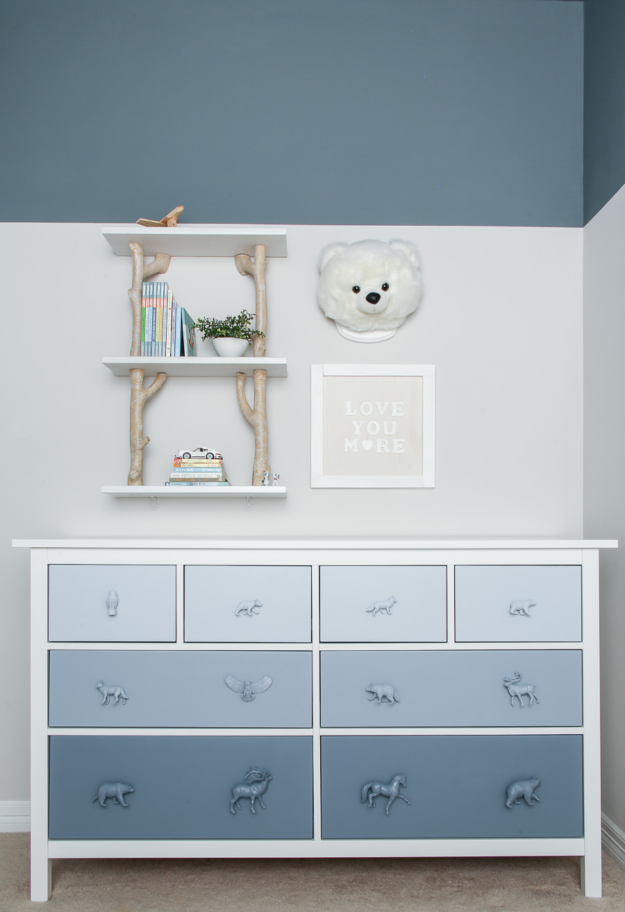 blue woodland kids room and ikea hack dresser