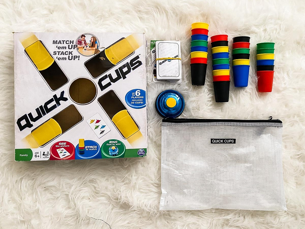 reorganizing board games into reusable bags- quick cups
