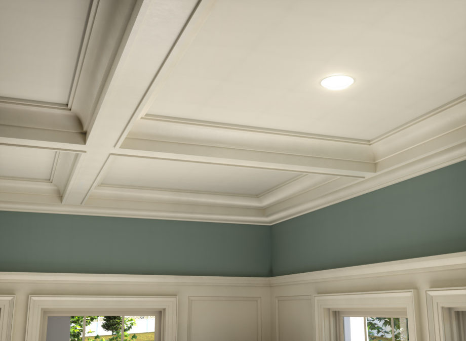 coffered ceiling and crown molding