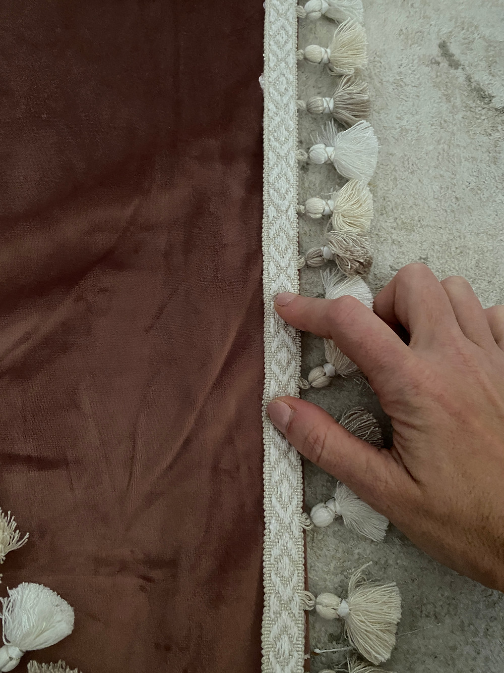 liquid stitch to apply trim to curtains