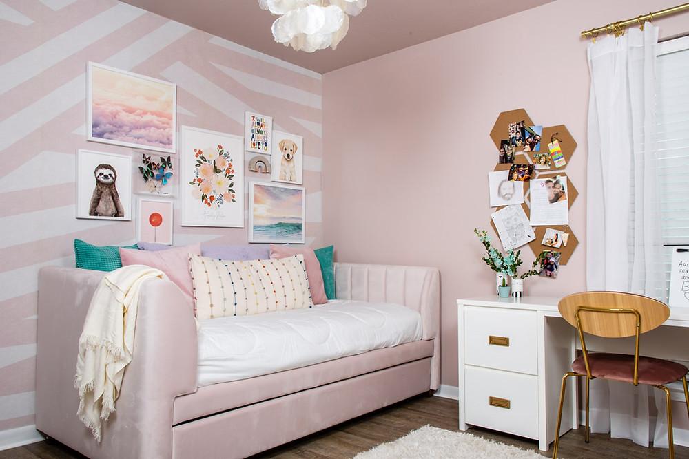 rebel walls sailor sea wallpaper, tween girl dreamy pink cloud room
