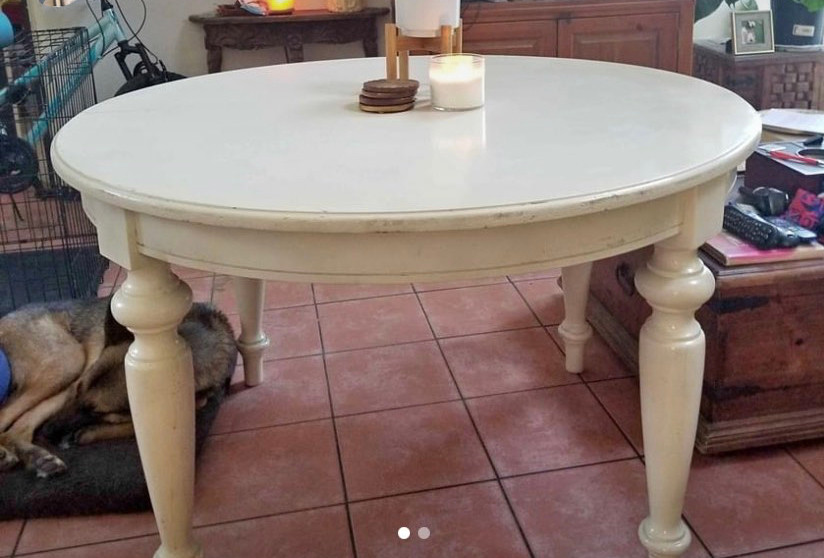 white round breakfast table, turned legs