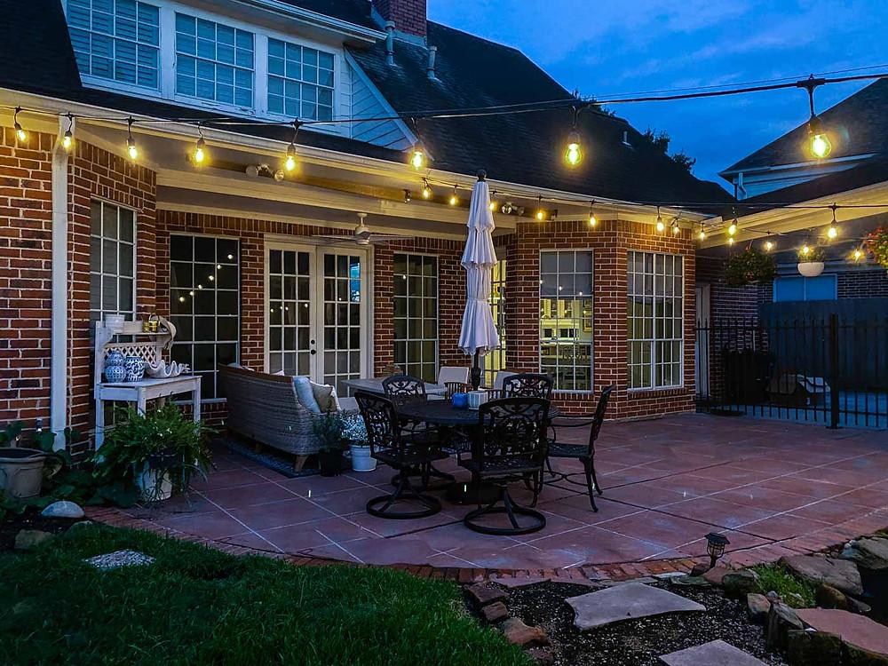 DIY outdoor string lights night time