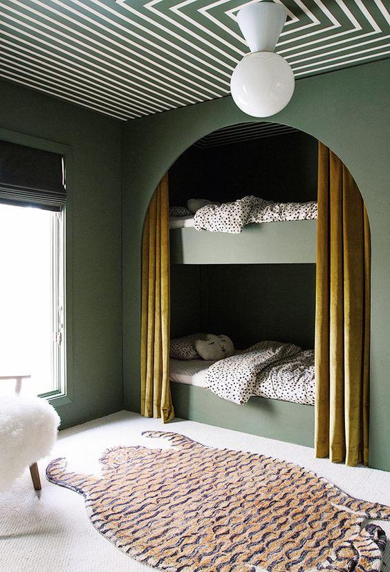 striped ceiling interior design, square painted ceiling design