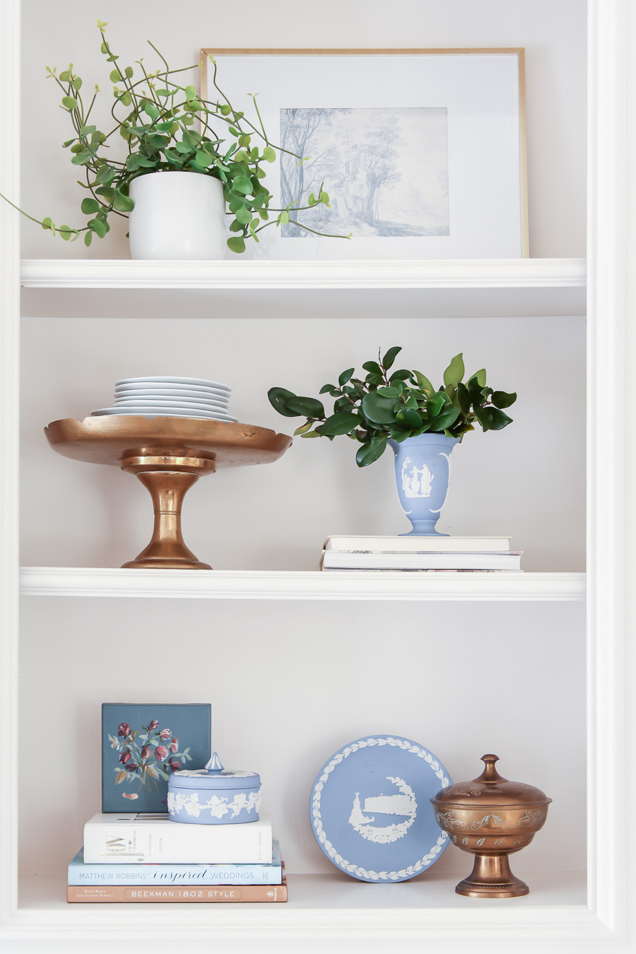 styled kitchen shelf with free art, wedgewood, and prisciclla palmieri art