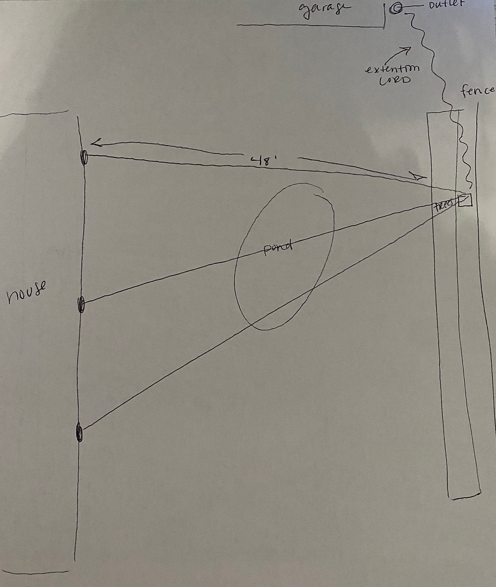 DIY outdoor string lights plan sketch