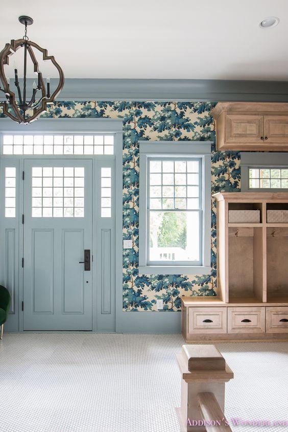 addison's wonderland wallpaper mudroom