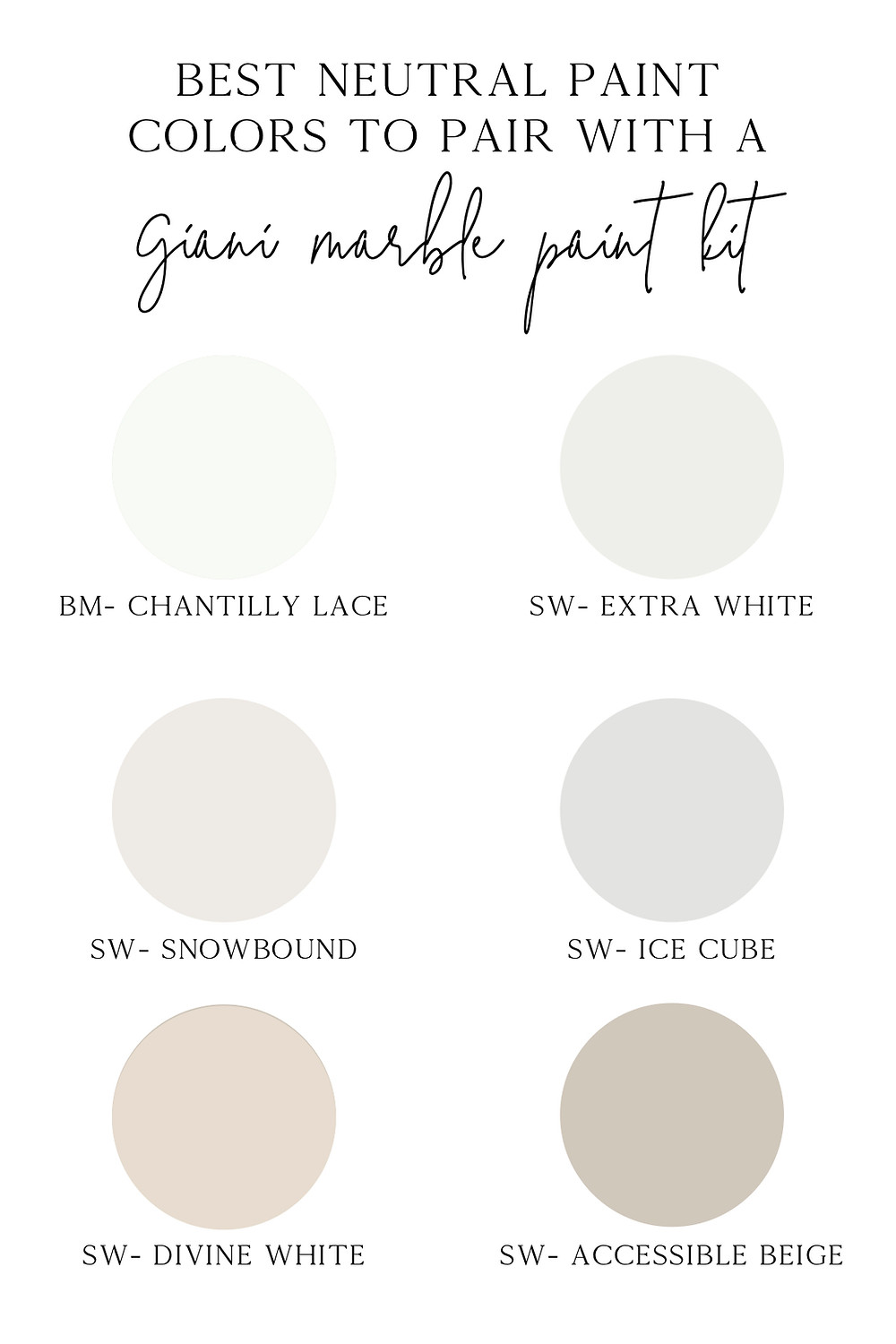 best neutral and white paint colors to pair with a giani marble paint kit