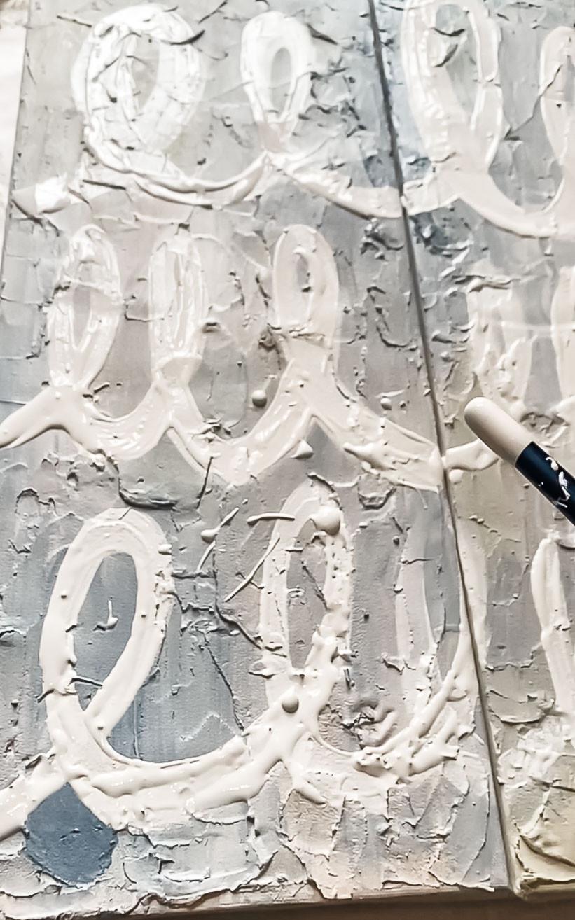 DIY spackling over thrift store art, DIY textured art