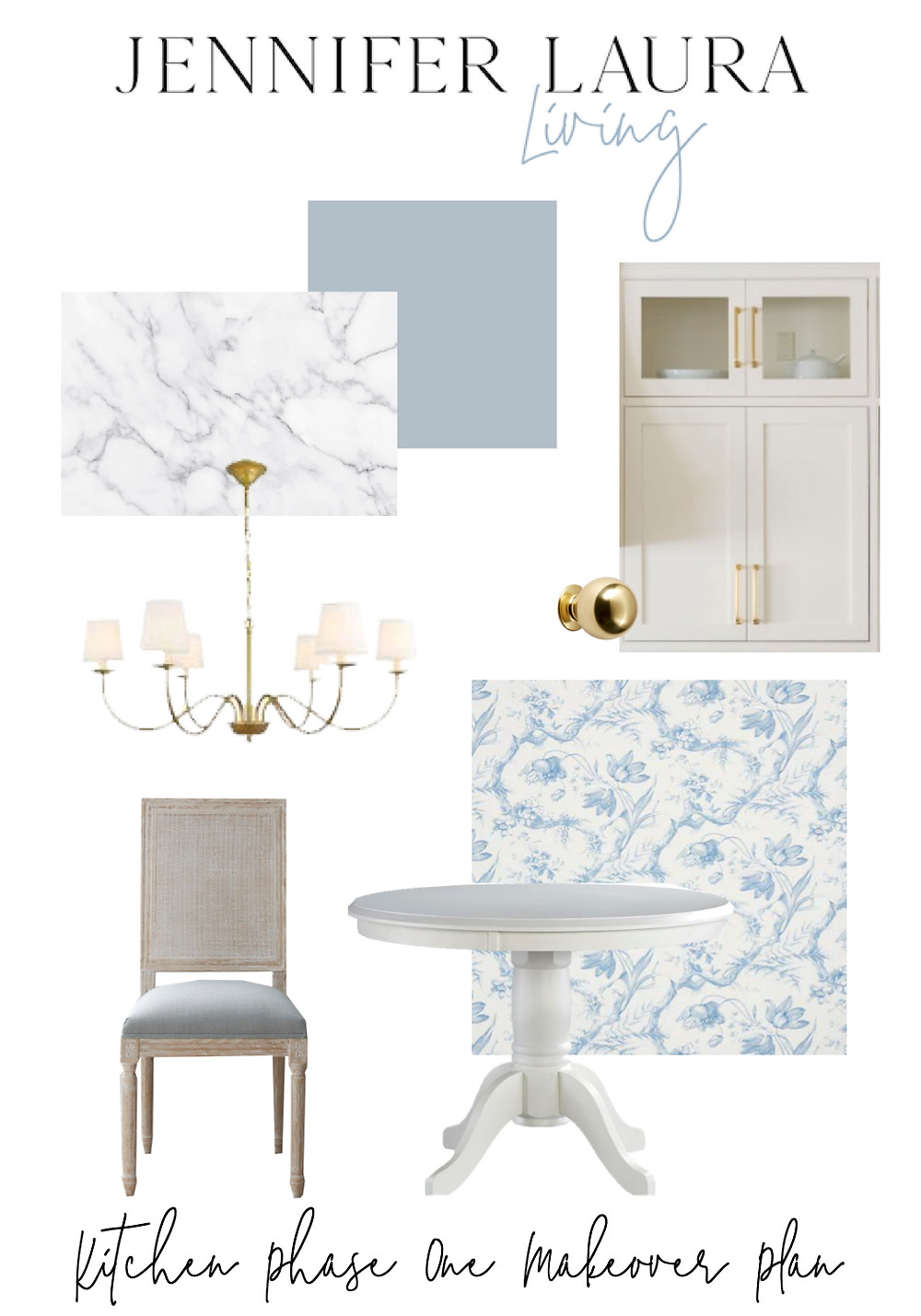 light airy white and blue french kitchen mood board