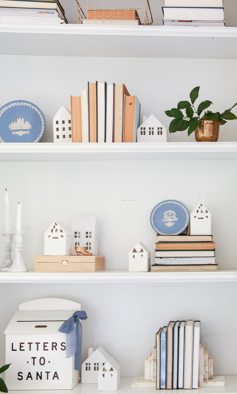 blue styled christmas shelf