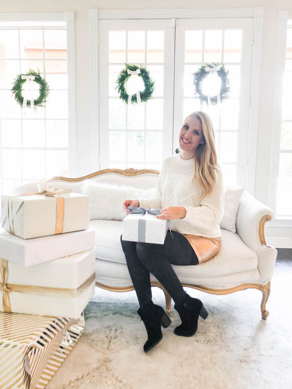 neutral white and gold christmas living room