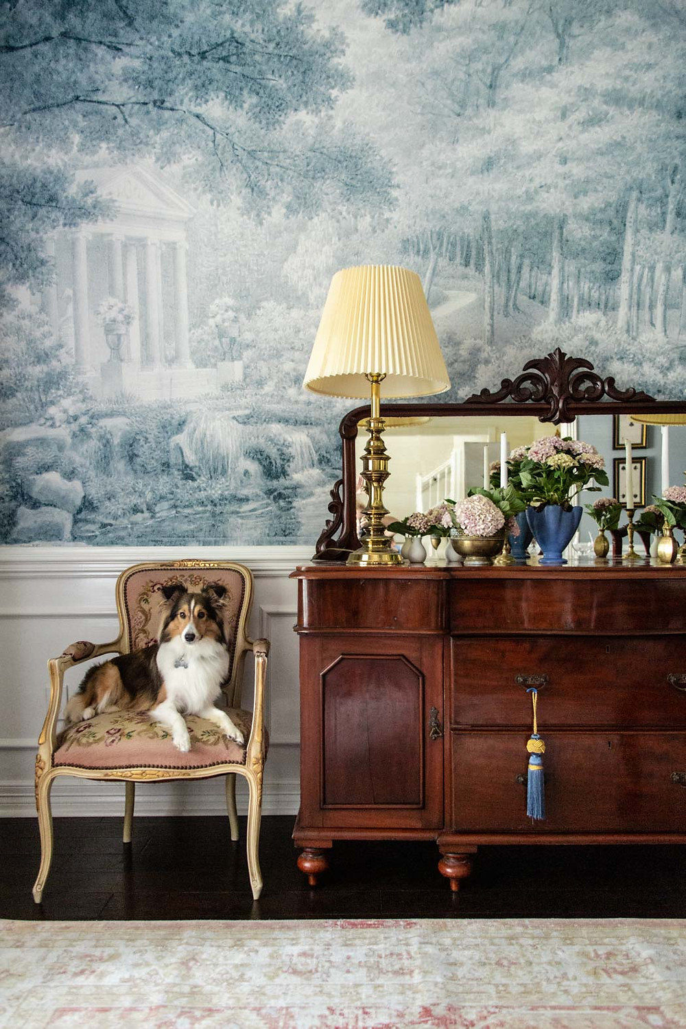 blue and pink grandmillenial inspired dining room, sheltie