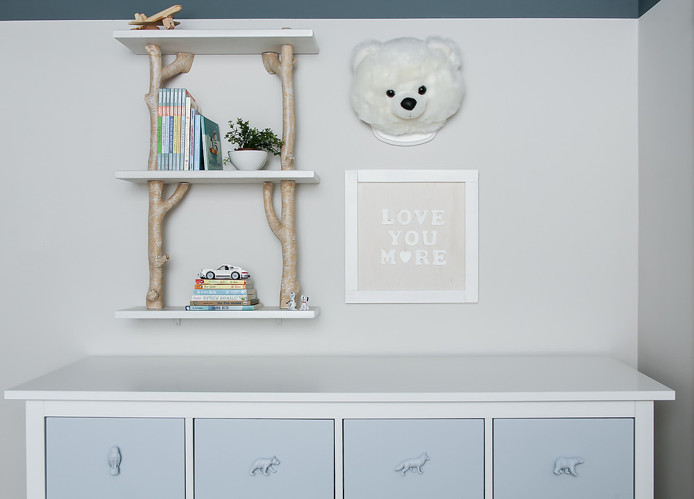 blue woodland kids room pottery barn kids branch shelf