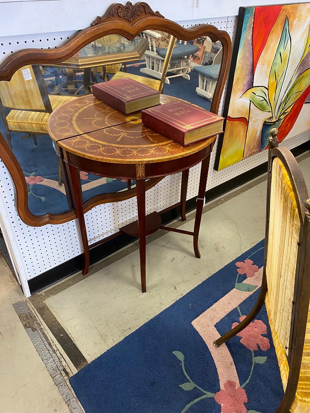 small wood inlay half round table