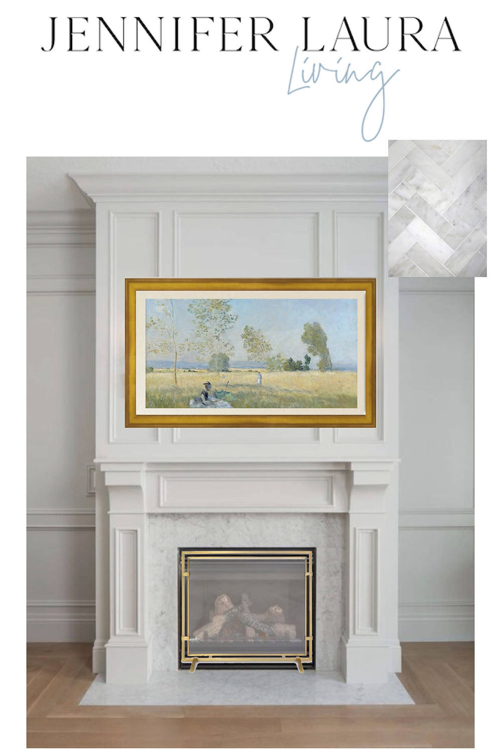 fireplace inspiration mood board, molding classic white and gold, frame tv