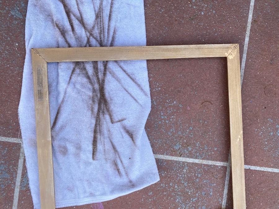 antique gold rub n' buff on a DIY frame