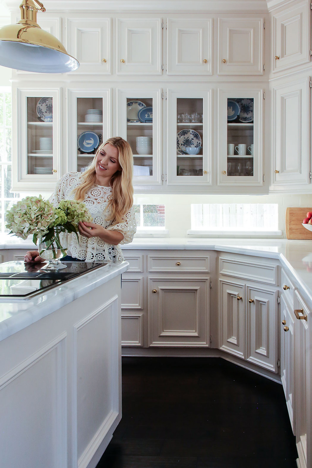 white and brass kitchen inspiration, blue and white, wedgewood