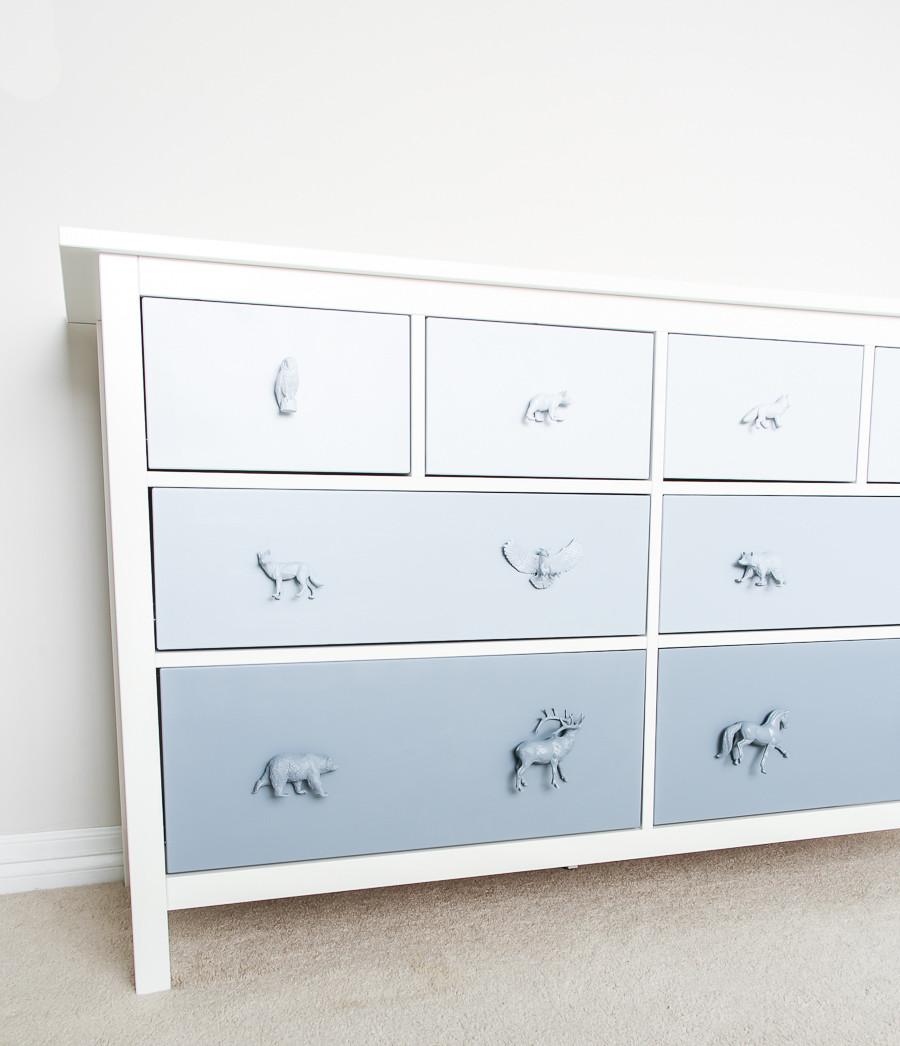 IKEA Hemnes Hack _ blue ombre woodland kids dresser