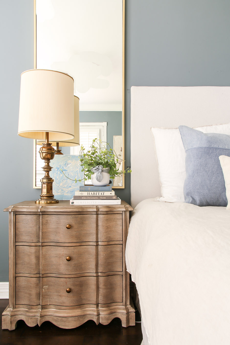 styled traditional grandmillenial nightstand
