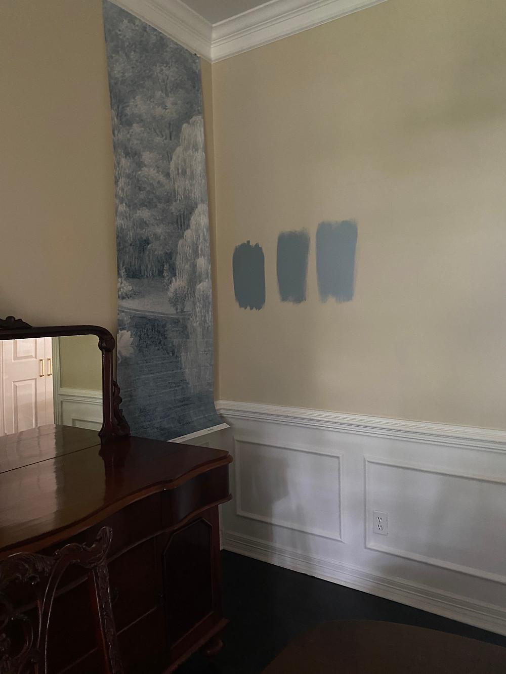 papiers de paris swan lake blue colorway, sherwin williams debonair