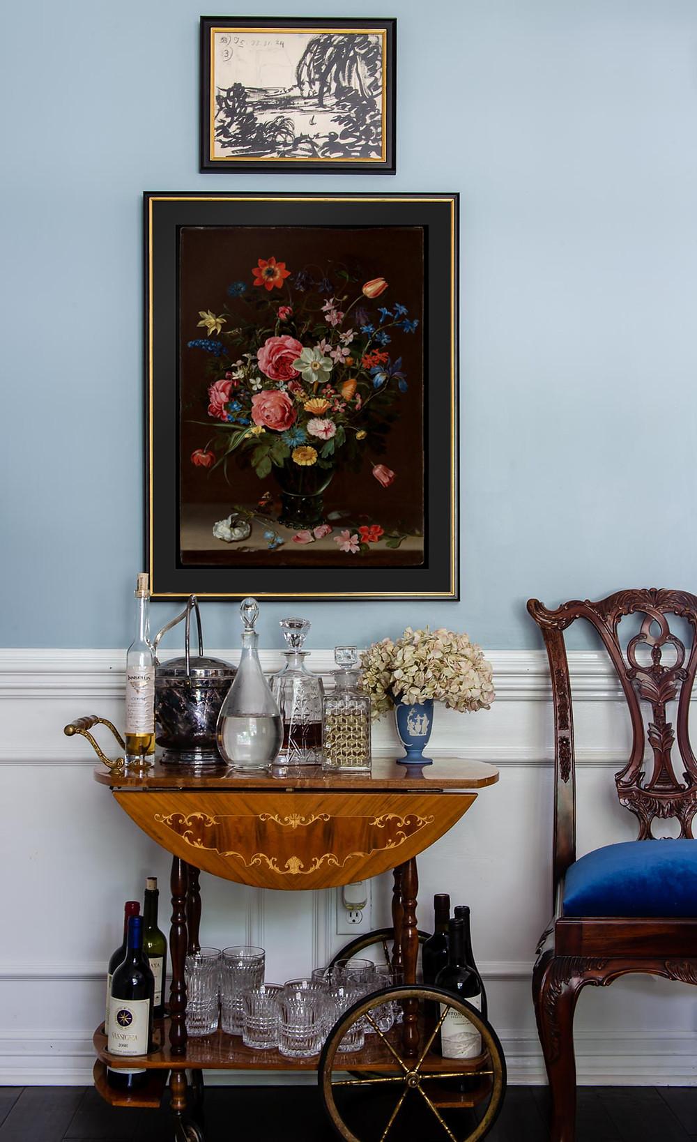 level frames art, floral art and antique bar cart