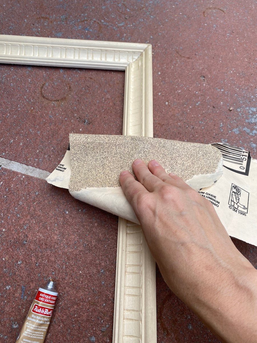 sanding a frame