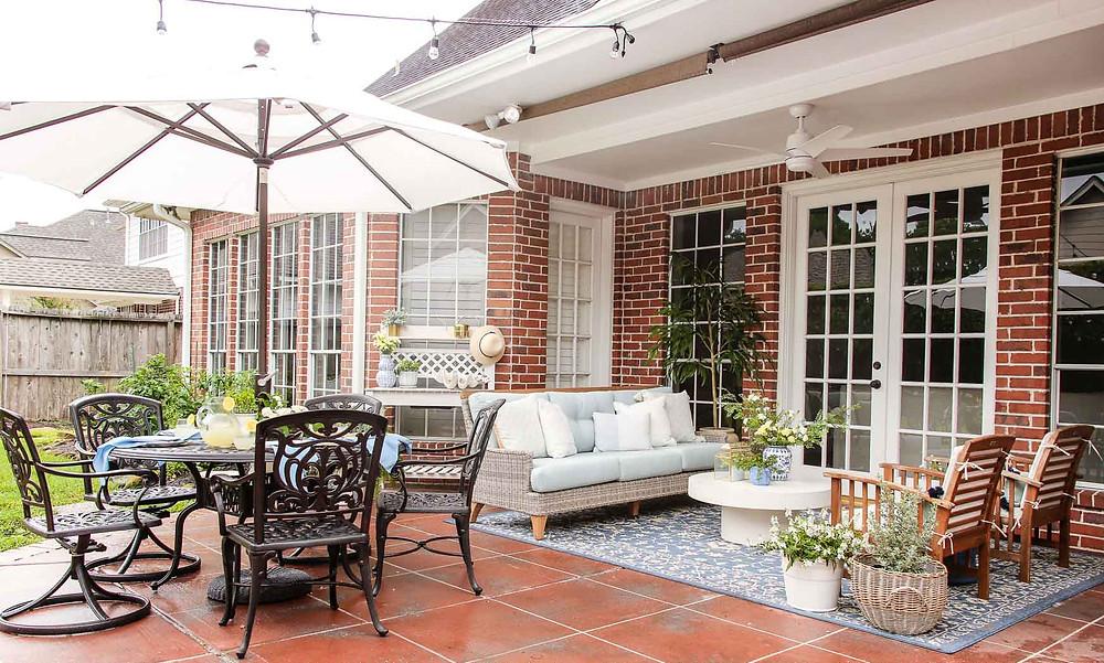 blue and white backyard patio inspiration
