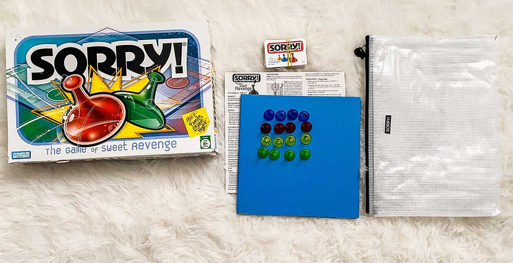 reorganizing board games into reusable bags- sorry!
