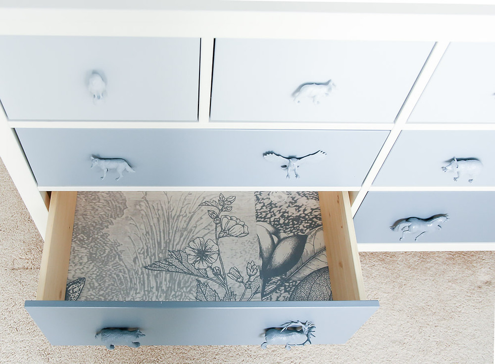 blue woodland kids room ikea hack dresser